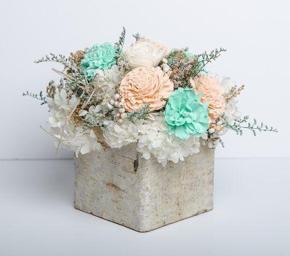 Mint, Peach & Ivory Sola Flower Centerpiece, Birch Wedding Centerpiece, Shabby Chic, Country Wedding, Rustic Wedding Centerpiece