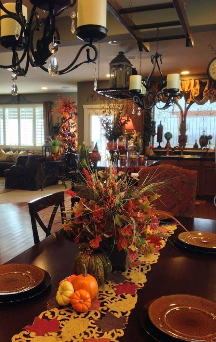 33 Pretty Dining Table Decorations for Thanksgiving Dinner  Table-decor-for-thanksgiving-gath…