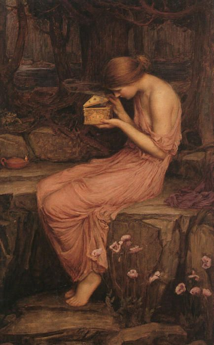 Psyche Abrindo a Caixa de Ouro (1903) por John William Waterhouse (1849-1917, Italy)