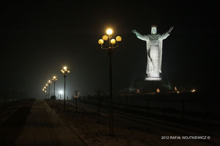 Jesus statue at night in Poland