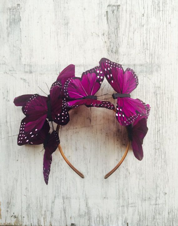 Dark Violet Butterfly Floral Crown Fascinator by DelfinaCrowns