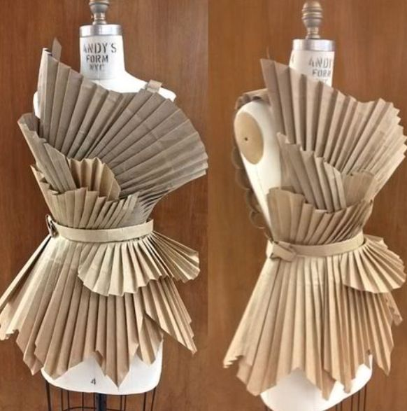 Paper bags- not really making a scarf, but making something for the body.. more wearable