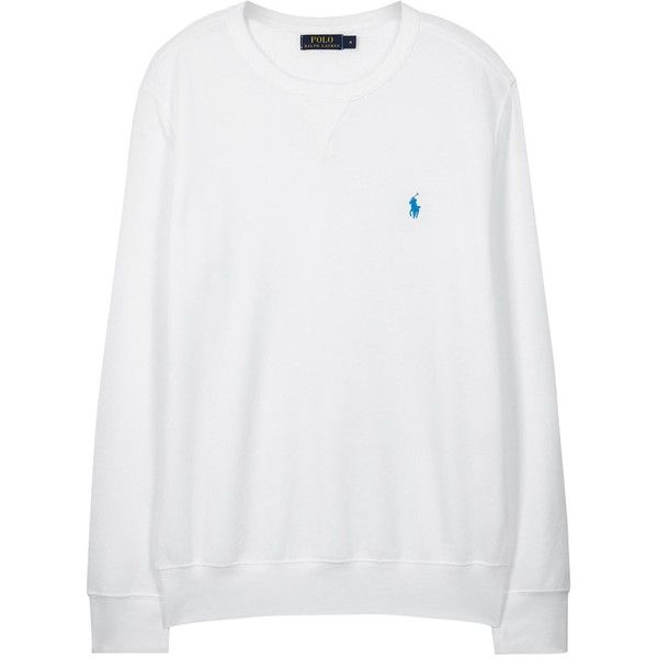 Polo Ralph Lauren White Cotton Blend Sweatshirt DZD) ❤ liked on Polyvore featuring tops, hoodies, sweatshirts, sweaters, shirts, polo ralph lauren shirts,