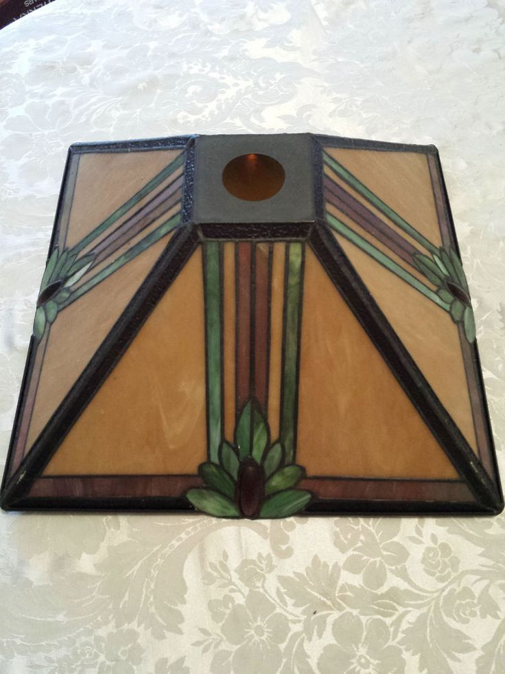 Stained Glass Lamp Shade Mission Style Antique Stain