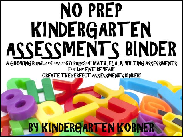 NO PREP Kindergarten Assessments Binder Bundle...This NO PREP GROWING Assessment Binder Bundle contains over 60 pages of Assessments for Math, ELA, and Writing. Many cover choices and subdivision/ section cover choices are included! Print out and place assessments in your go-to Teacher Assessment Binder! Use at the beginning of kindergarten for a baseline, at report card time, and at end of the year.