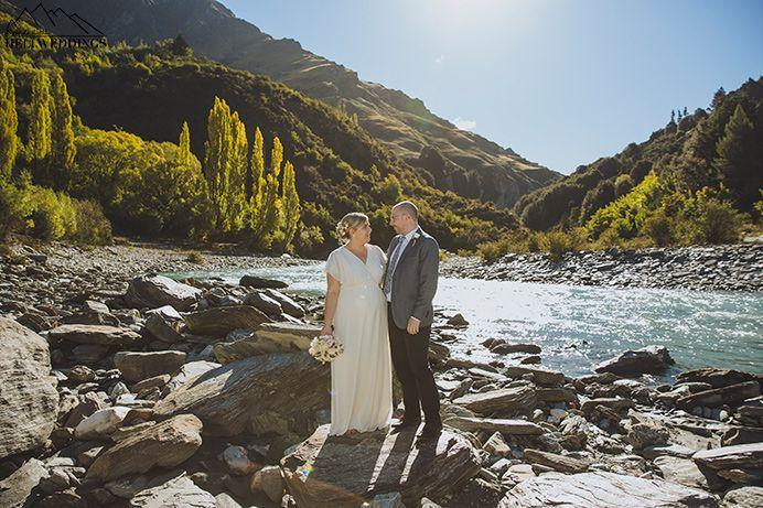 4x4 wedding Queenstown , river wedding photos of bride & Groom  Queenstown