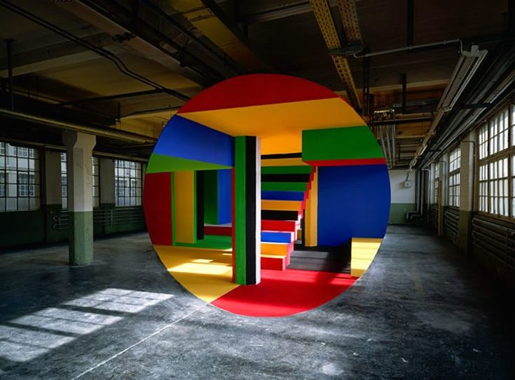 colorful anamorphic art by Georges Rousse.
