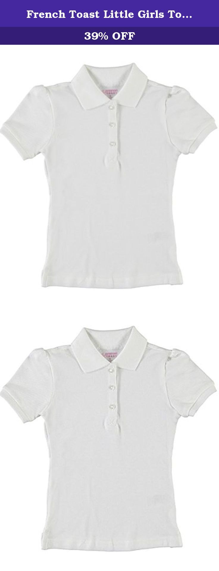French Toast Little Girls Top Marks S/S Pique Polo - white, 4. 97% Cotton / 3% Spandex. French Toast Girls' Short Sleeve Pique Stretch Polo shirt has a knit collar and three button front.