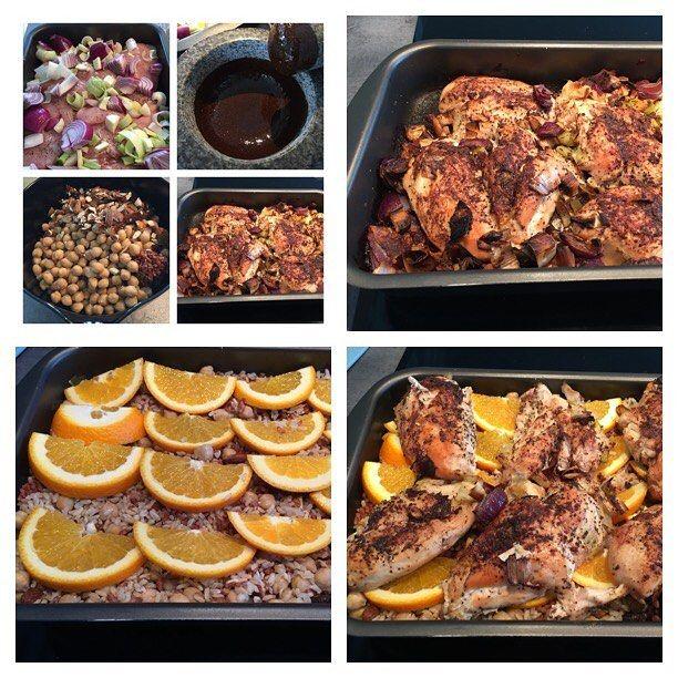 Närmaste dagarnas middag är klar! Lite pyssligt då man lägger på ingredienserna efter olika tider (recept på blogg) men så gott! Idag gjorde jag med kycklingfileer, apelsin (som jag tar bort före servering, ger bara smak) och blandade fullkornsris, svart ris, kikärtor, mandlar (ger härlig crunch) och lite hackade aprikoser. Damn #mealprep #följplanen #fitfam #iifym #flexibledieting #kyckling