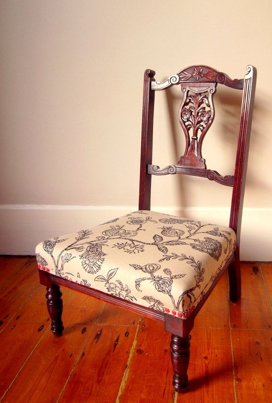 Pomegranate Nursing Chair by OhBoxinghare on Etsy, £115.00. Traditionally resprung and upholstered.