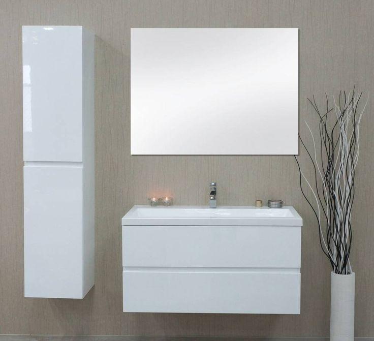 Sem Makalu badmeubel 100x51cm hoogglans wit inclusief spiegel met 1 ...