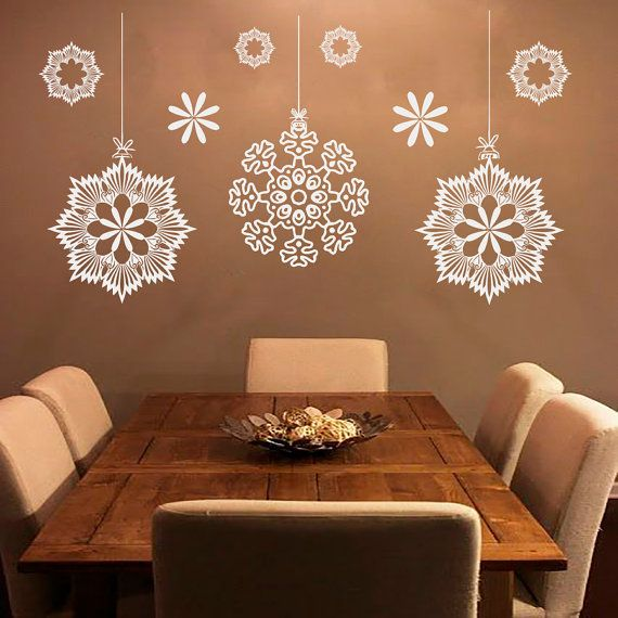 Merry Christmas Snowflakes Wall Decals Decal Vinyl Sticker Nursery Bedroom  Home Decor Room Interior Design Art