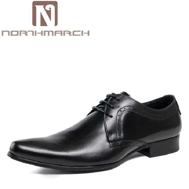 NORTHMARCH Pointed Toe Business Formal Shoes Wedding Brown Genuine Leather Oxford Shoes Men Dress Shoes Chaussure Homme Cuir