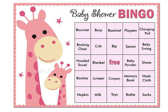 Printable Baby Shower Bingo with Blank AND Pre-filled Cards This listing includes: *** Pre-filled Bingo Cards - There are 60 bingo cards that are filled in with lots of common baby shower gifts. *** Blank Bingo Cards - Alternately, you can print however many blank cards youd like