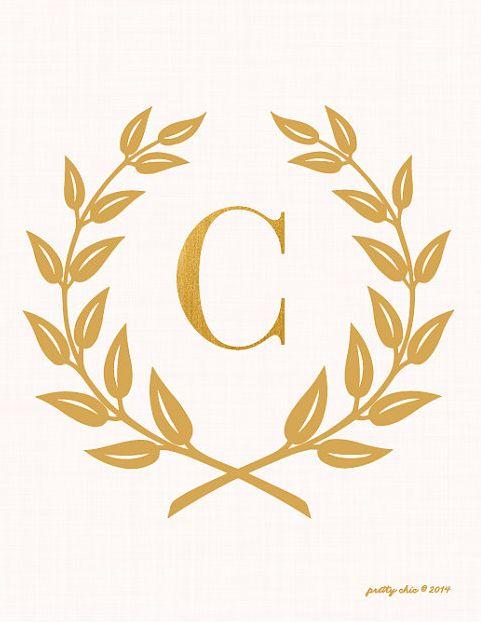 Laurel Wreath Monogram Art Print - Bar Cart - Inspirational - Monogram - Gold…