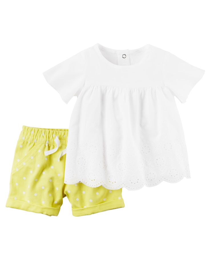 Baby Girl 2-Piece Eyelet Top & Denim Short Set from Carters.com. Shop clothing & accessories from a trusted name in kids, toddlers, and baby clothes.