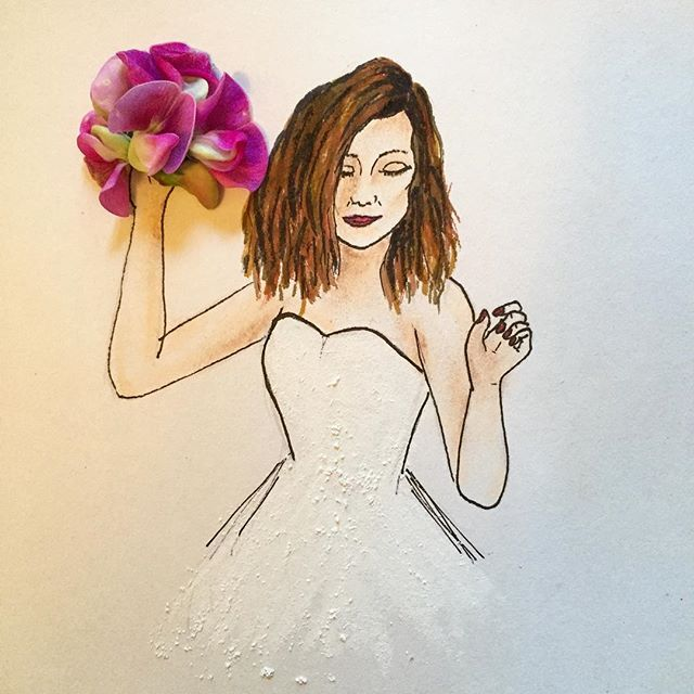 #bride #inspiration #floral #bouquet #flower #dance #love #illustration #art #artwork #nature #hair @natgeocreative @instagram @artsy #wedding #dress #fashion #woman #painting #drawing #sketch #orchid #purple #vancouver @vancouverbride @vancitybuzz #whphairplay
