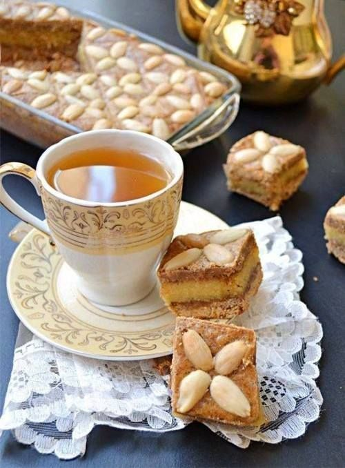 Tea time with almond cakes
