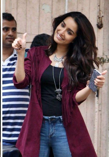 Looking for a similar maroon shrug as Shraddha Kapoor is wearing