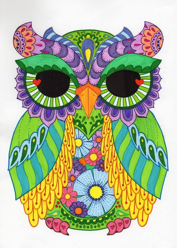 Owl zentangle coloring
