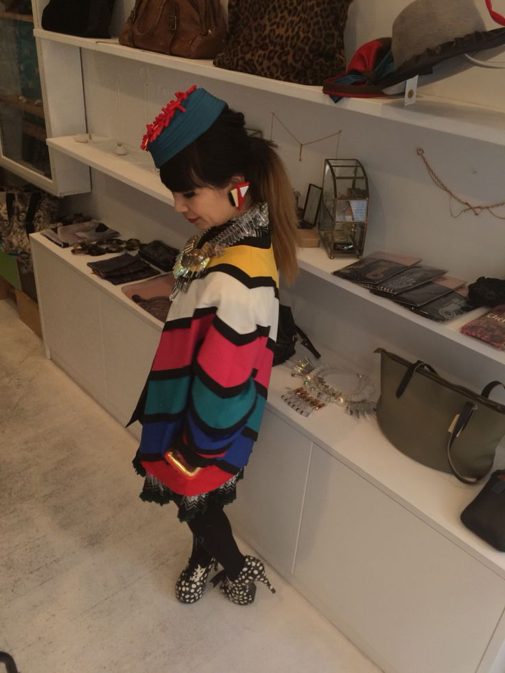 Jan Pop up shop at Marylebone Hight street Gallery Eclectic with my colourful vintage jacket and Noel Stewart hat