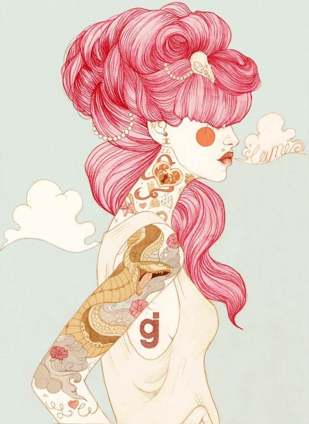 Illustrations by Liz Clements, mixing retro pinup girls and tattoos.