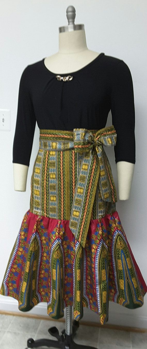 African Print Fitted Hip Midi Skirt. Sash Waistband ...