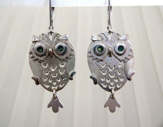 Silver owls earrings owl jewelry whimsical jewelry by NetaGilboa