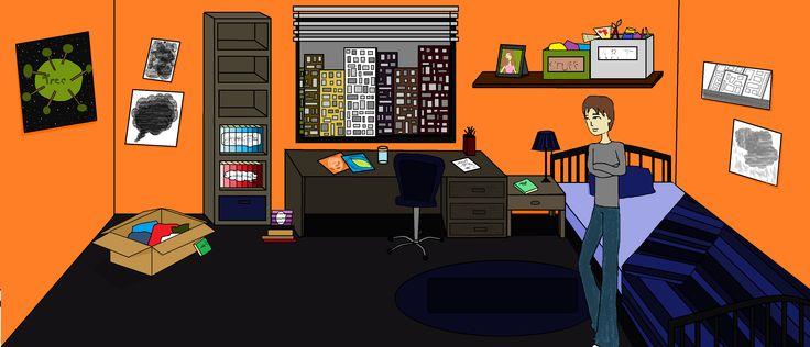 Smithy's bedroom. Upbeats.