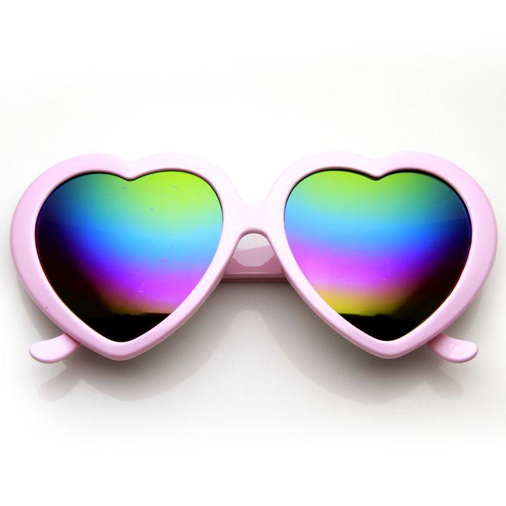 Super Cute Womens Heart Shape Gradient Flash Revo Rainbow Lens Sunglasses 9492