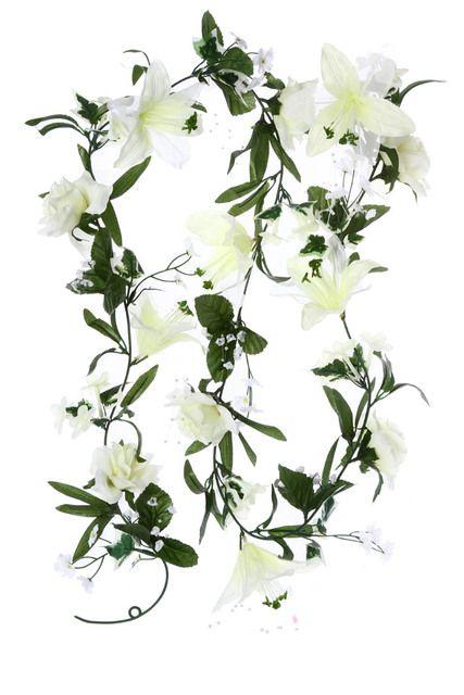 Guirlande roses et lys ivoire, Fleurs artificielles 170 cm