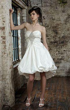 short bubble wedding dresses