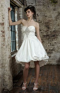 short bubble wedding dresses