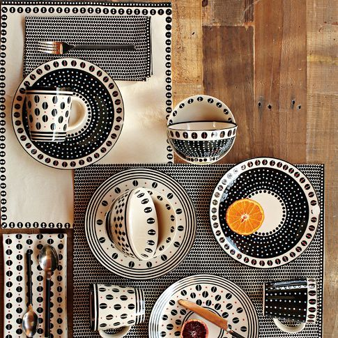 Dotted Black and White breakfast sets