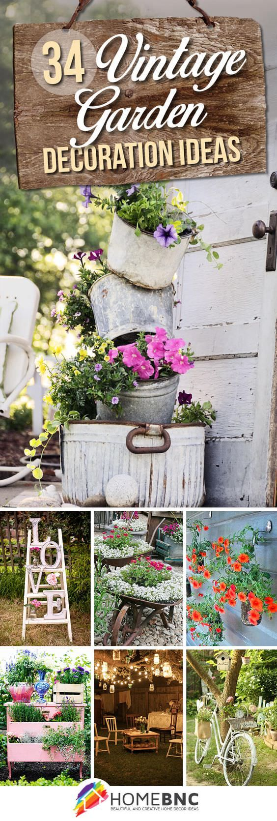 Wonderful 34 Vintage Garden Decor Ideas To Give Your Outdoor Space Vintage Flair