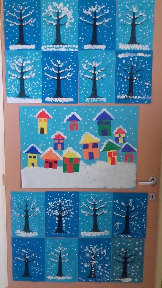 Χιόνι, χιόνι, χιόνι…. Φτιάξαμε ομαδικά ένα χιονισμένο χωριό με σχήματα από γλασέ χαρτί και δεντράκια χιονισμένα και στολίσαμε την πόρτα της τάξης μας!!! Χιονάνθρωποι σε βελουτέχαρτί Με την τεχνική…