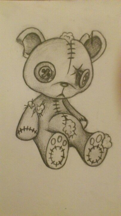 Tatty teddy bear drawing in pencil