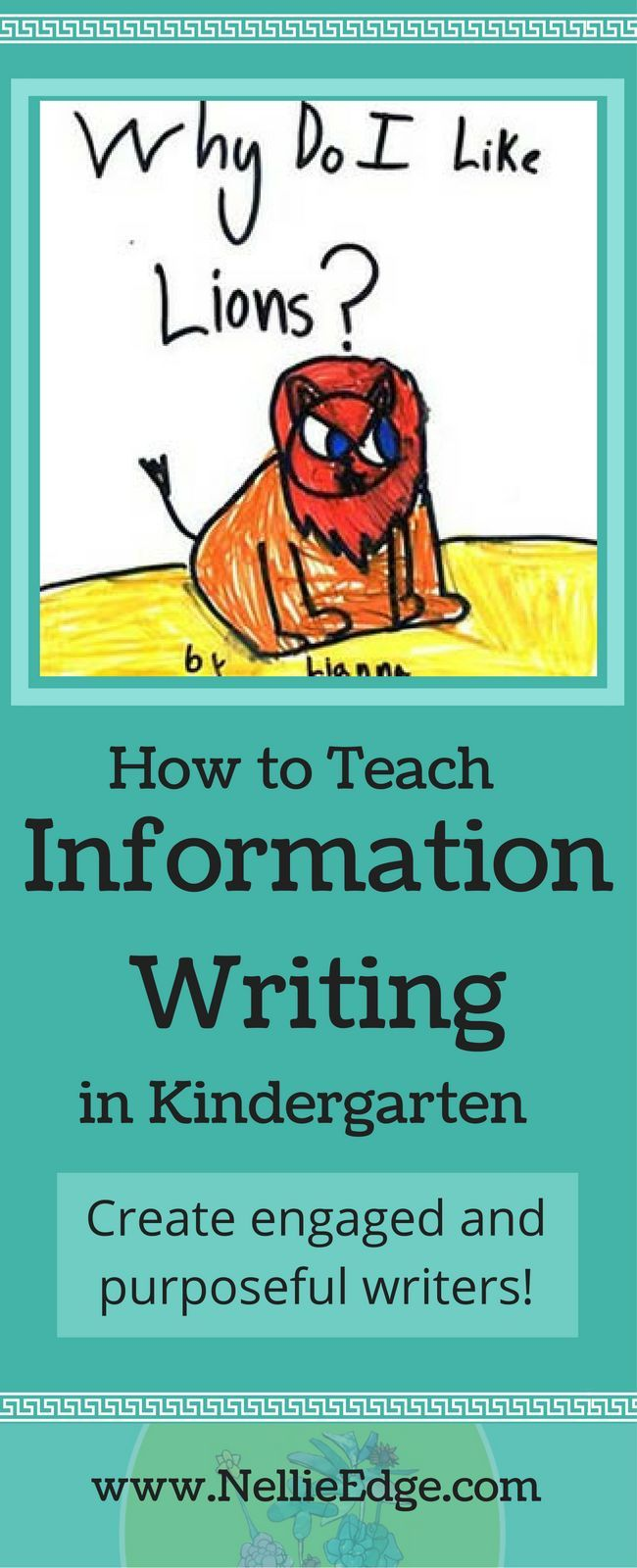 Boost kindergarten Information Writing proficiency! View this sequence of lessons and practical strategies to grow kindergarten writers. Nonfiction studies inspire students' writing, building motivation and stamina for ANY writing workshop model. See documented student writing samples that build and motivation for ANY writing workshop model at http://nellieedge.com/writing/information-writing-kindergarten/ | Information writing + writing workshop + nonfiction