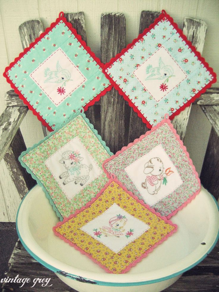 vintage grey: new spring embroidered pot holders are in the shoppe! http://vintagegrey.storenvy.com/