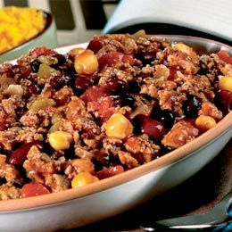 Three-Bean Turkey Chili (WW 7+, if serves 8)  *Delicious topped with fat free sour cream (1 T./ 1+), Kraft Mexican Cheese Blend (2 T./ 1+), diced green onions (0+)