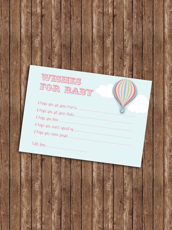 Hot Air Balloon Baby Shower Wishes For Baby Card by YasminHall, $6.95