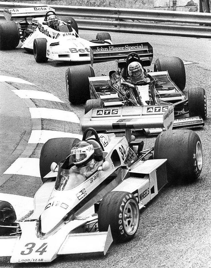 """Monaco Grand Prix 1977 Jarier,Nilsson and Brambilla to the """"Mirabeau"""""""