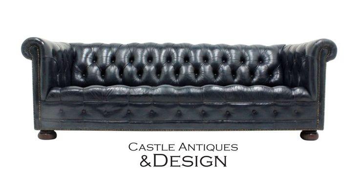 Original Blue Color Leather Chesterfield-style Sofa #chesterfieldsofa #blueleather #mancave #homeoffice #tuftedleather #regency #brassnailhead #nailheads