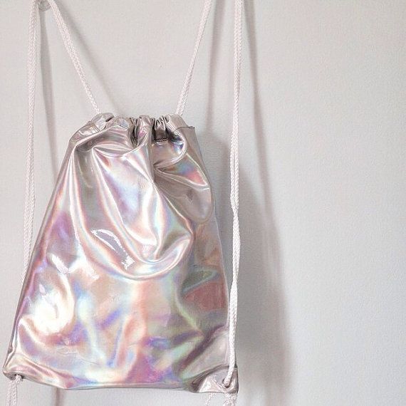 Holographic Drawstring Bag Backpack Silver by pingypearshop