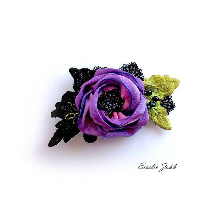 Purple flower bridal hair .Bridal hair clip ribbon flower.Hair accessory.Bridal Hair hair clip for bridesmaids.Wedding hair accessories