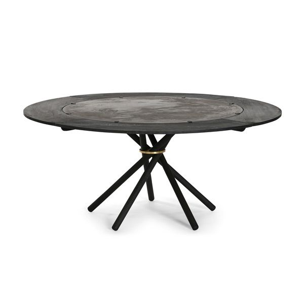 EH 4 - Dining Table with extra leaves  Classic concrete table top, oiled legs and steel ring with black stained oak and matt black painted steel brackets. #diningtable #table #concrete #concretetable  #steel #oak #oaklegs #eberhartfurniture