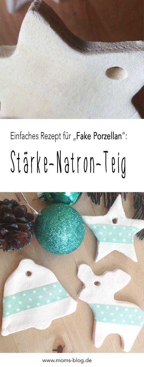 """Ein einfaches Rezept für """"Fake Porzellan"""" Teig aus Stärke & Natron (Cornstarch & Baking Soda) , das ihr wie Salzteig verwenden könnt,  findet ihr hier: http://www.moms-blog.de/weihnachtsdeko-salzteig-staerke-cornstarch/"""