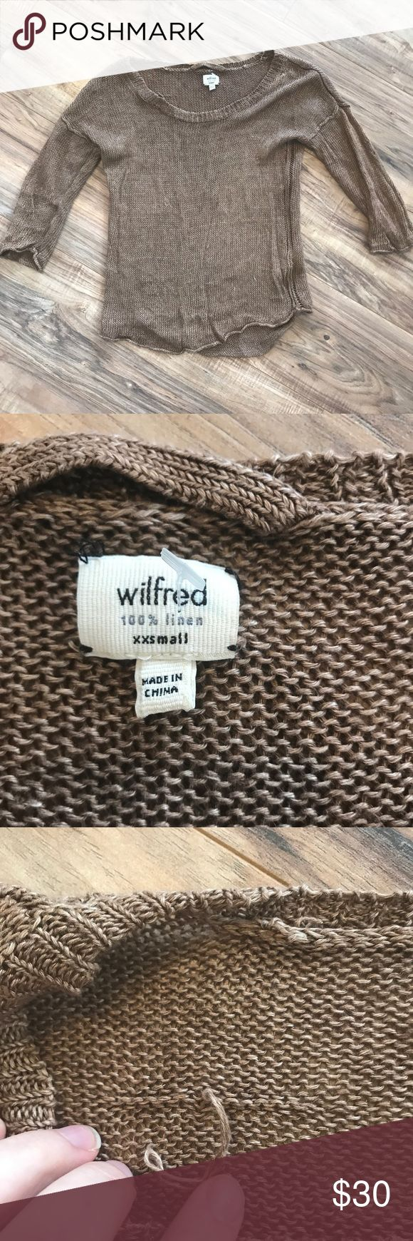 Wilfred scoop neck linen knit top size XXS One pull on the inside. It is tied to prevent more pulling. You can't see it from the outside. Tag is untacked on one corner. Wilfred Tops Blouses