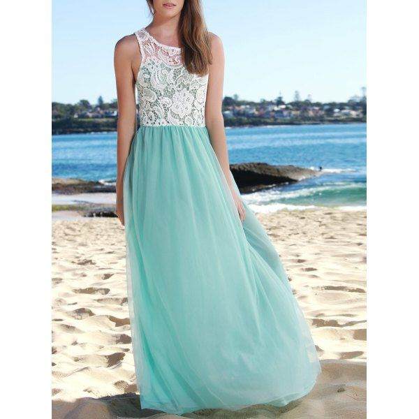 Elegant Hollow Out Lace Spliced Sleeveless Layered Gauze Maxi Prom Dress For Women, LAKE BLUE, S in Maxi Dresses | DressLily.com
