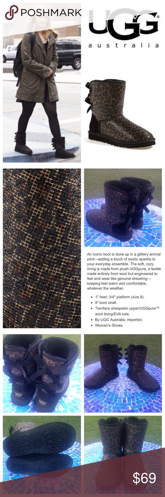 Authentic UGG Australia glitter leopard Bailey bow Super beautiful, ultra-versatile UGG Australia Glitter Leopard Bailey bow boots have been previously worn with lots of life left!  These adorable boots are available in a black/leopard combo for total versatility to pair with virtually everything & feature the softest inner lining that will have you wanting to wear them all the time!  Size is 6 which will accommodate a woman's 6-7.  Retail at $205!  No trades please.  Don't miss this deal…